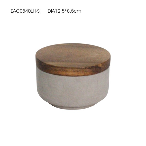 Bowl shape marble effct concrete water proof candle holder with wood lids