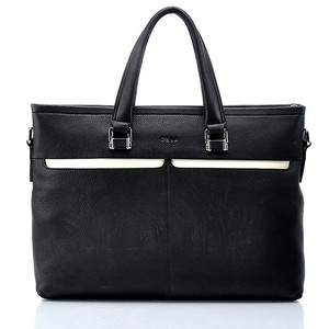 black business style laptop bag leather briefcase for men