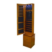 Wholesale Floor stand Storage Display Rotating Wooden Mirror Jewelry Cabinet