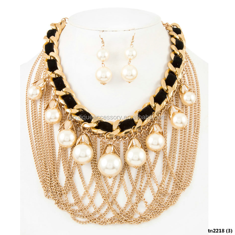 Draped Chain and Faux Pearl Dangle Statement Necklace Set