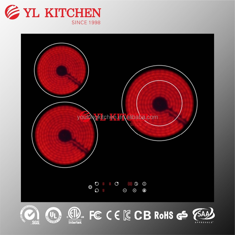 3 zones ceramic cooker /hob with Bevelled Edge/stainless steel rim