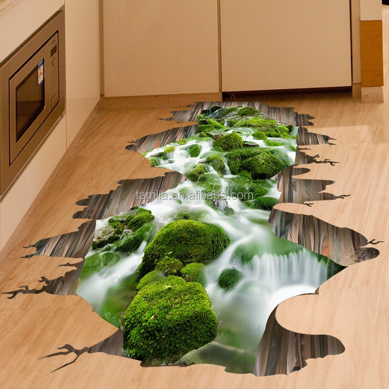custom design self adhesive removable decrative home 3d floor sticker