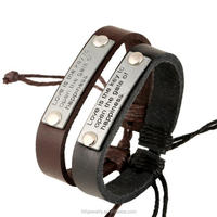 inspirational bracelets handmade leather cuff bracelet with engraved metal plate