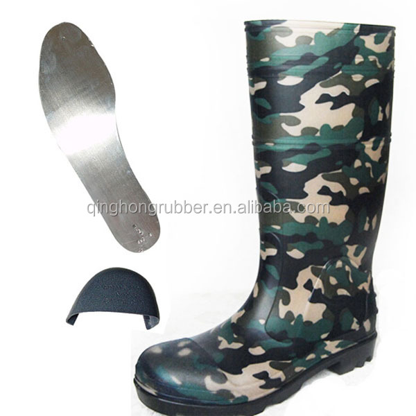 high quality shoes factory men's safety boots with steel toe and steel midsole camo rain boots