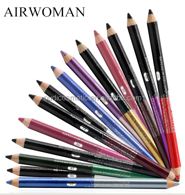double sided color waterproof wooden lipliner pencil &soft eye liner pencil / eyeshadow makeup pencil private label