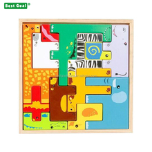 Children education early teaching animal wooden block toy puzzle -3d puzzle toy