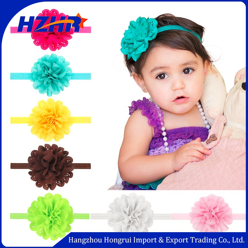 2018 Wholesale Flower Baby Headband Hollow Elastic Newborn Headband