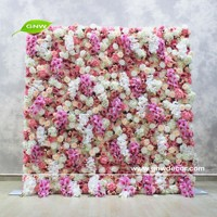 GNW customized rose flower wall, artificial flower wall backdrop for wedding decoration