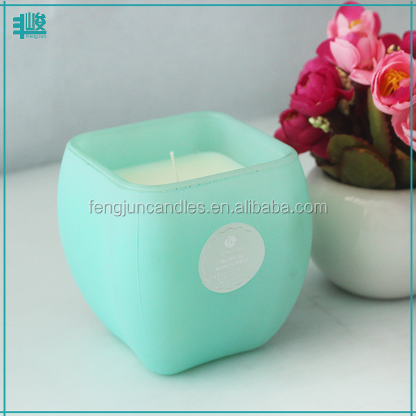 FengJun square shape gardenia scents artificial natural wax candle