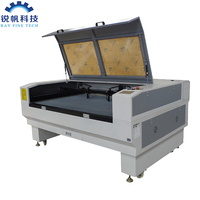 CCD camera 80 watt 1290 double heads cloth fabric applique embroidery laser cutting machine with honeycomb working table