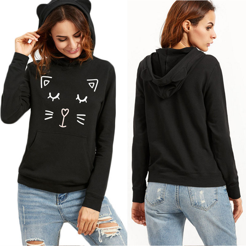 Black cat printed wholesale custom design pullover woman hoodie