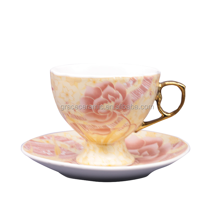 luxury Gold royal yellow rose shape bulk tea cups and saucers cheap bone china tea cup set with OEM