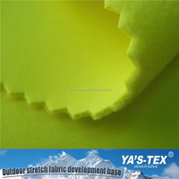 China Wholesale Fluorescence Color Polyester 4 Way Stretch Fabric Bonded Polar Fleece with TPU Coated