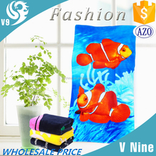 wholesale cotton velour reactive printed custom 3D fish printed towel