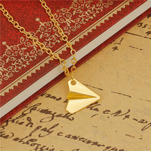 Paper Airplane Necklace Link Cable Chain Gold Plated 51cm long