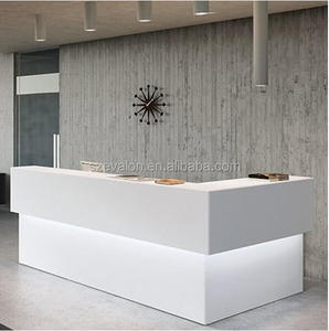 Solid surface colorful customer service reception counter/front desk reception counter