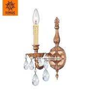 Mid-century modern design China supplier 1 light crystal candle chandelier