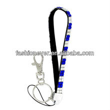 Royal Blue and Clear Checkered Sparkling Crystal Keychain