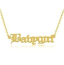 Old English Name Necklace - 24K Gold Plated &amp; Stainless Steel - Personalized Custom Made Nameplate Charm <strong>Chain</strong>