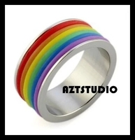 2015 July Gay Men Ring Rainbow stainless steel Ring wholesale