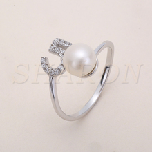 2017 Fashion Jewelry S925 Sterling Silver Pearl Piston Ring Mountings Pearl Party