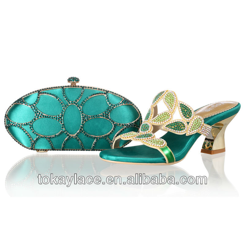 Custom made new design ladies high heel crystal italian matching shoes and bags set in Nigeria green