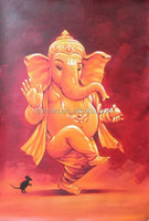 Shenzhen Dafen Big Wholesale Low Price Old Mastered Artists Handmade Ganesh Oil Painting on Canvas for Wall Art Decoration