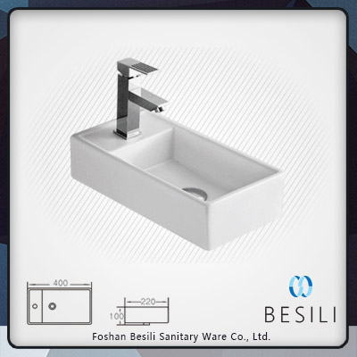Rectangular bathroom sink wall-hung ceramic wash basin in foshan E8040