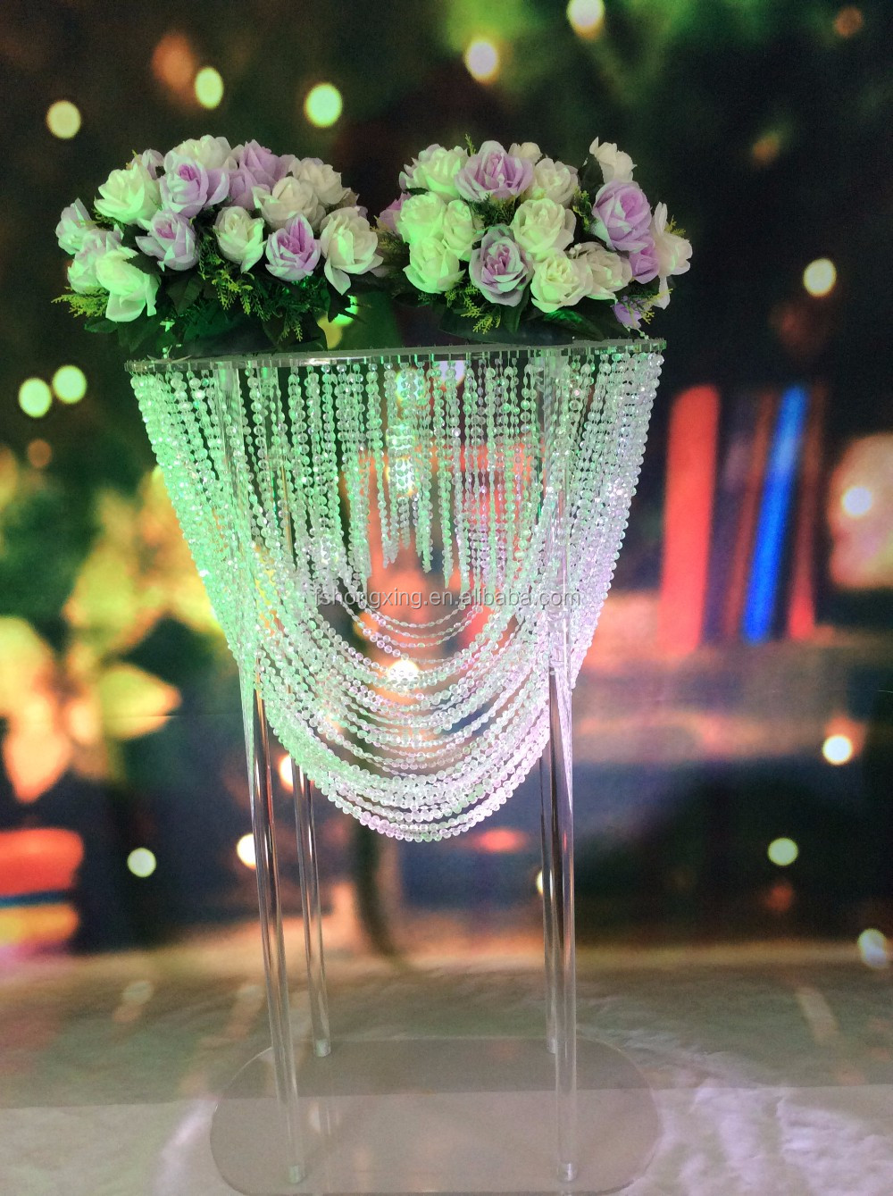 2016 new fashion elegant crystal tall flower stand for wedding table decoration wedding flower stand centerpieces