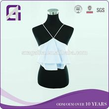 Custom service hot selling halter top sequence blouse for ladies