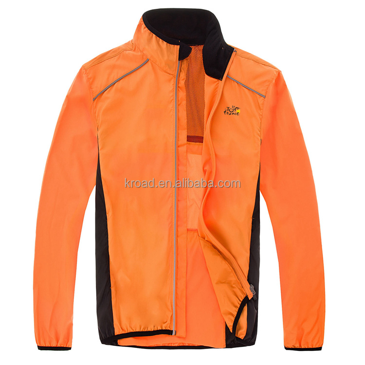 Cycling Coat Mens Winter Windproof Road Bike Cycle Clothing Long Sleeve Jersey Wind Rain Waterproof Jacket Orange