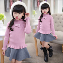 Free samples cotton bowknot design of hand made girls sweaters basic baby clothes