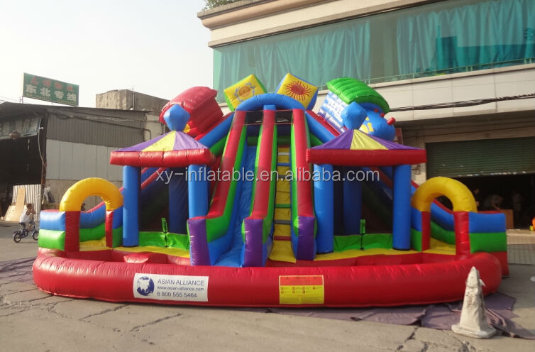 children lake inflatable water slide, inflatable slide with big pool front