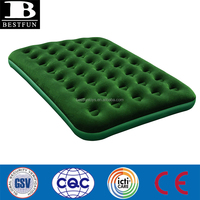 high quality flocked PVC inflatable air bed durable folding camping queen airbed the luxe duble mattress