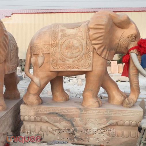 Stone Carving Stone elephant Animal sculpture Courtyard View European Western Stone Decoration Garden