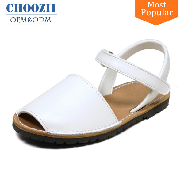 Choozii 2017 Summer Kids White Leather Peep Toe Flat Sandals