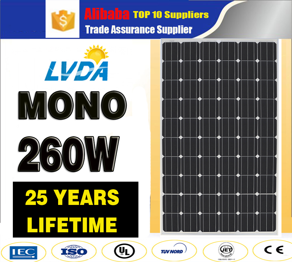 LVDA factory directly sale 260w mono PV Solar panel with IEC/TUV/CE/CEC in Thailand market