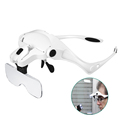 Hands Free Headband Loupes Lamp LED Magnifier Headset Glasses Magnifier Mirror 1.0X 1.5X 2.0X 2.5X 3.5X