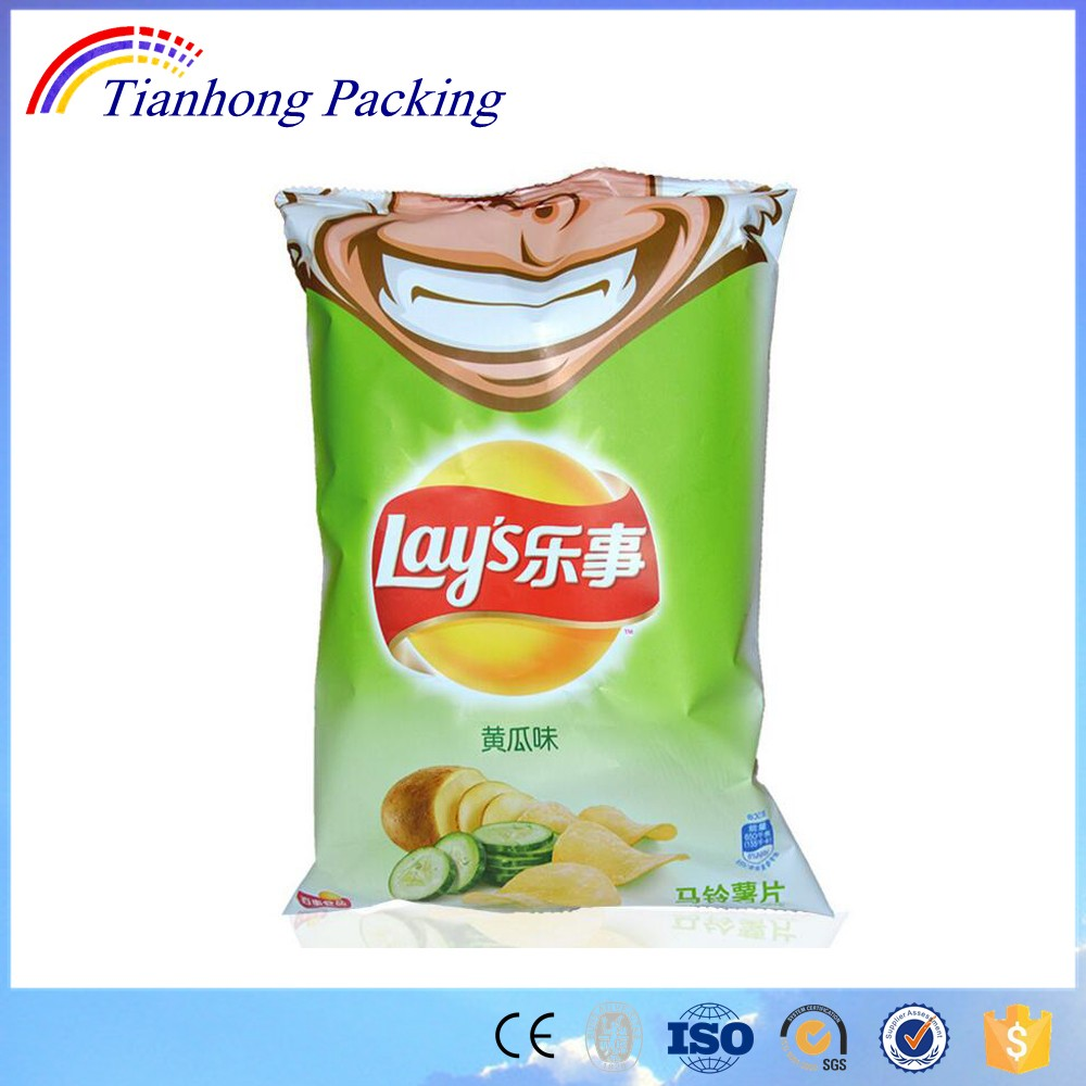 Easy open VMPET Potato chips plastic bags with saw top and bottom
