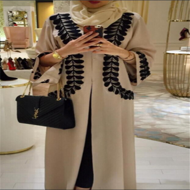 Wide cuff islamic clothing Dubai abaya wholesale middle east front open abaya
