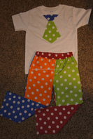 Baby fashion 2015 multicolor boy dots pants t shirt with tie baby boy clothes