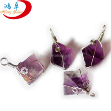 30-40mm Raw Rough Fluorite Octahedron Healing Crystal Stone Wiring Pendant <strong>Charm</strong> DIY