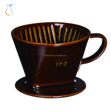Brown white Porcelain Reusable Filter Cone Brewer and Pour over Ceramic Coffee dripper for 2-4 Cups