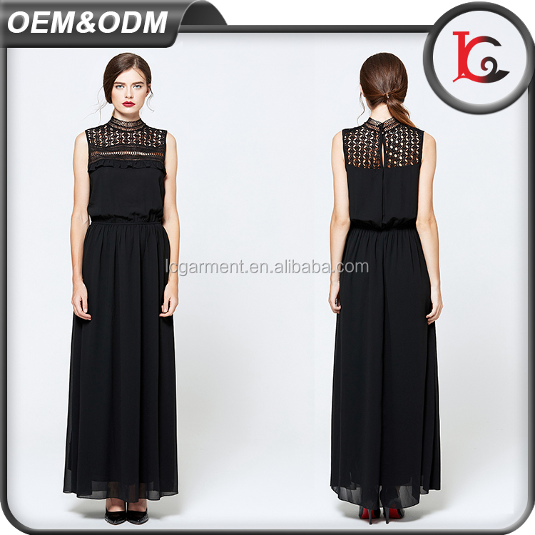 wholesale casual designs woman dress pictures sleeveless black lace chiffon maxi new fashion ladies dress