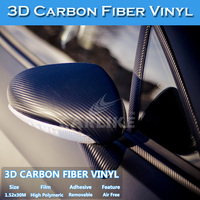 Guarantee 5 Years Black 3D Carbon Fiber Sticker 3M Car Wrapping Vinyl