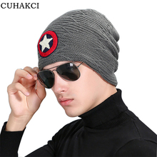 CUHAKCI New Brand Men's Knitted Casual Beanie Five Star Woolen Hats Warm Baggy Skullies Ski Sports Gorros Carhart