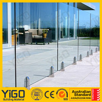 outdoor tempered glass swimming pool railing/pool fence requirements