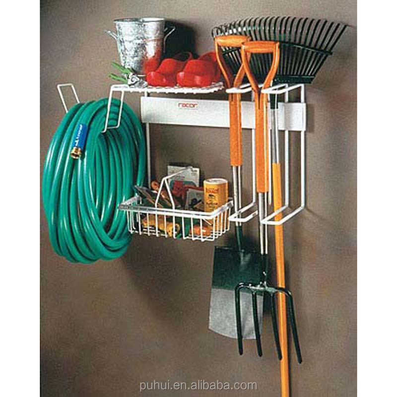 wall mounted garden tools organizer rack with multi function