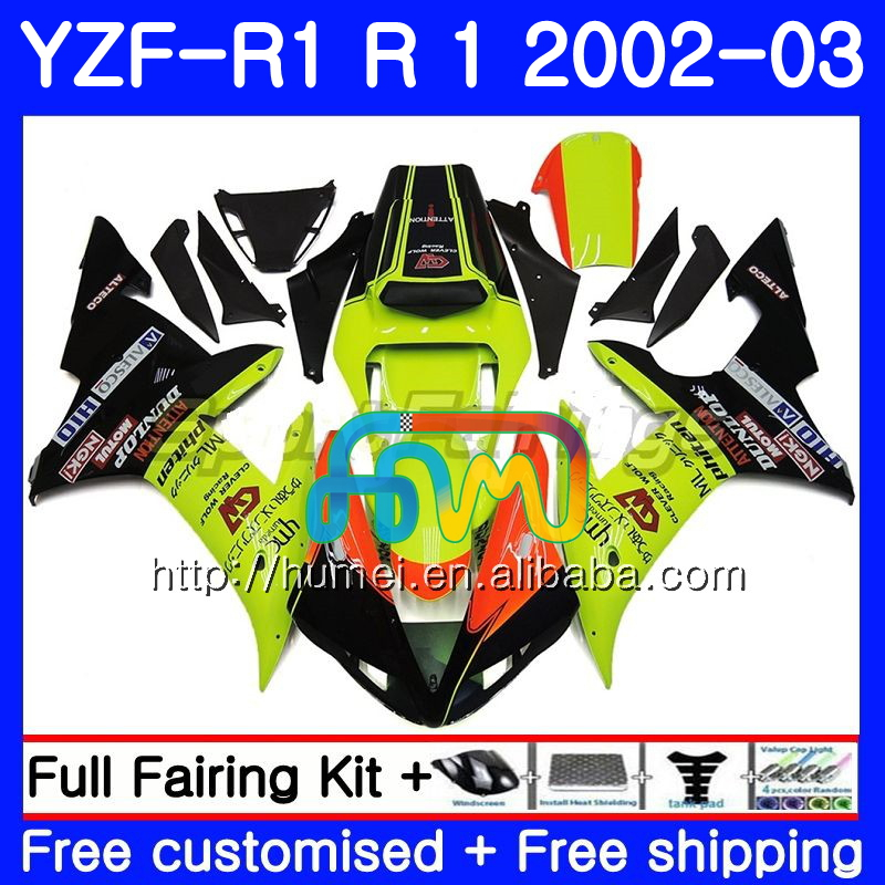Body For YAMAHA YZF 1000 YZFR1 <strong>02</strong> Yellow green <strong>03</strong> YZF-1000 Bodywork 99HM4 YZF R 1 YZF <strong>R1</strong> <strong>02</strong> <strong>03</strong> YZF1000 YZF-<strong>R1</strong> 2002 2003 <strong>Fairing</strong>