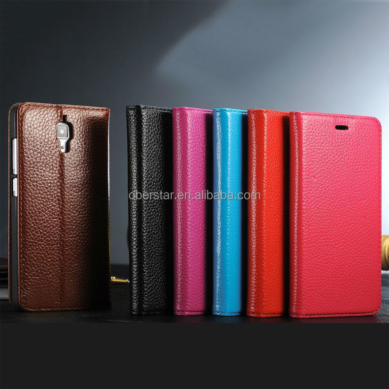 Lychee leather Flip Stand Cover Case For Xiaomi Mi4